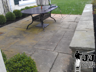 Pressure Washing a Flagstone Patio