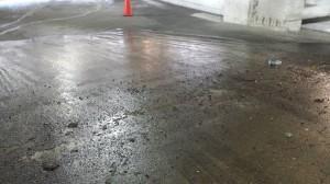 Parking Garage Before Pressure Washing