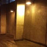 parking garage before powerwashing
