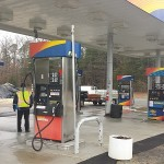 Gas Station Power Washing After