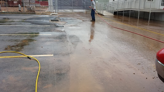 parking lot during pressure washing